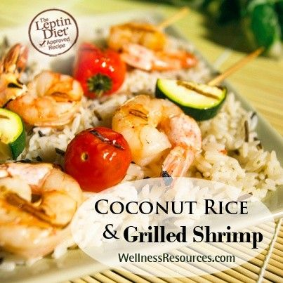 coconut rice with grilled shrimp